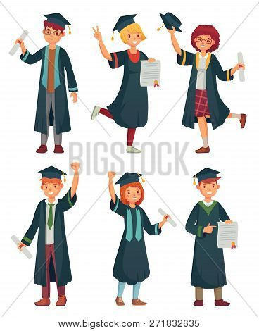 Graduates Students. College Student In Graduation Gowns, Educated University Graduating Man And Woma