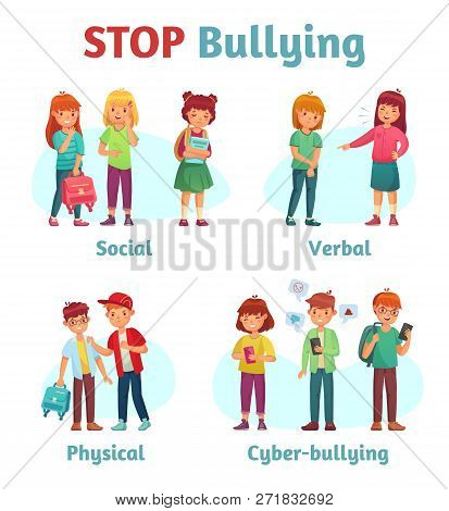 Stop School Bullying. Aggressive Teen Bully, Schooler Verbal Aggression And Teenage Violence Or Bull