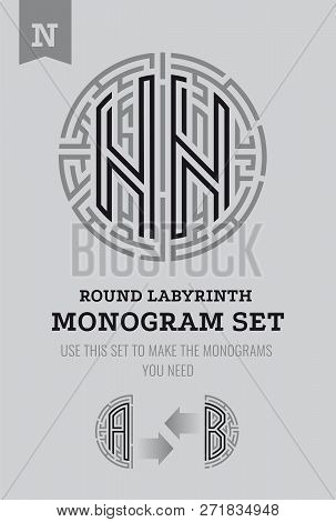 N Letter Maze. Set For The Labyrinth Logo And Monograms, Coat Of Arms, Heraldry, Abbreviation.