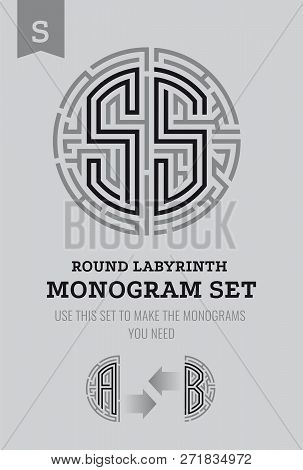 S Letter Maze. Set For The Labyrinth Logo And Monograms, Coat Of Arms, Heraldry, Abbreviation.