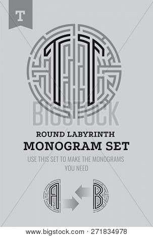 T Letter Maze. Set For The Labyrinth Logo And Monograms, Coat Of Arms, Heraldry, Abbreviation.