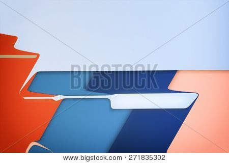 Illustration of a modern layered flat shapes background red blue