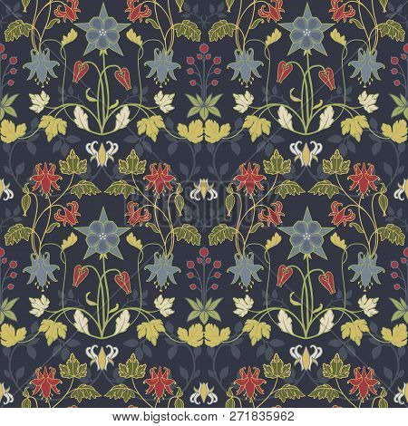 Beautiful Vector Seamless Pattern With Flowers In Modern Art Nouveau Tiffany Retro Vintage Style
