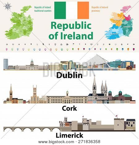 Republic Of Ireland Traditional Countries And Provinces Map And Irish Largest Cities Skylines. All E