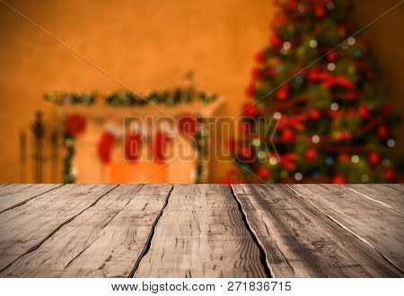 table background with fireplace christmas decor 3D rendering