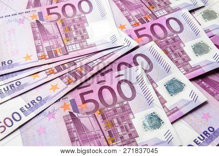 500 Euro Money Banknotes Background. Five Hundred Notes Of European Union Currency. Stack Of Euro Mo
