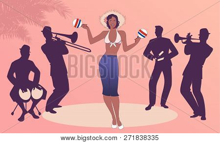 Beautiful Dancer Playing Maracas And Four Latin Musicians Playing Bongos, Trumpet, Claves And Trombo