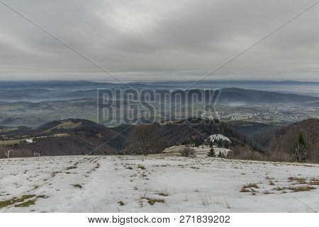 Winter View From Pansky Diel Hill Over Banska Bystrica City In Central Slovakia