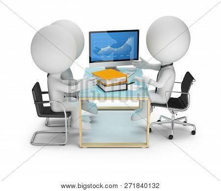 3d Small People - Order Discussion With Customers. 3d Image. White Background.