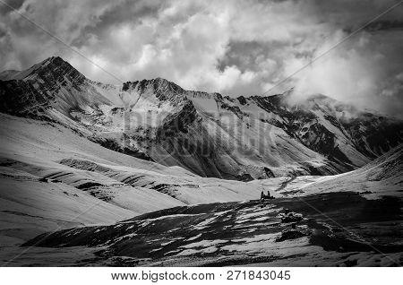 Breathtaking Panoramic Photography Of Stunning Mountain Range Next To Rainbow Mountain In Peruvian A