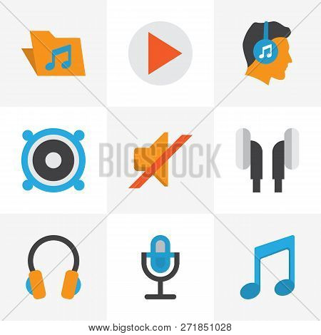 Multimedia Icons Flat Style Set With Ear Muffs, Musical, Bullhorn And Other Karaoke Elements. Isolat