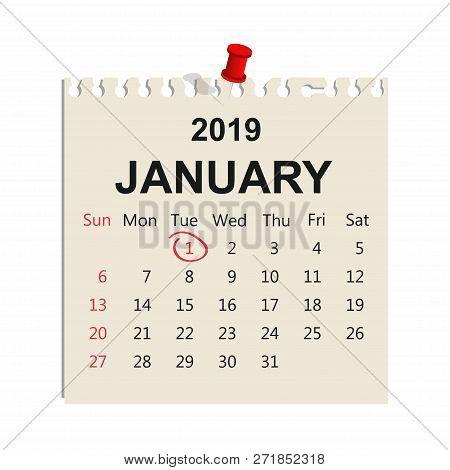 January 2019. Calendar Sheet. January 1, New Year Day. Vector