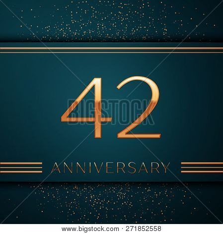 Realistic Forty Two Years Anniversary Celebration Design Banner. Golden Number And Confetti On Green