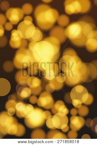 Golden Lights Background. Christmas Lights Concept. Abstract Golden Lights Bokeh And Sparkles. Bokeh