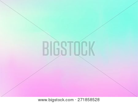 Hologram Vector Fairy Tale Dreamy Background. Rainbow Girlie Iridescent Gradient, Holographic Fluid