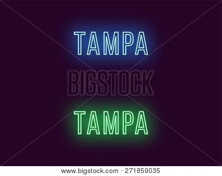 Neon name of Tampa city in USA. Vector text of Tampa, Neon inscription with backlight in Thin style, blue and green colors. Isolated glowing title for decoration. Without overlay mode poster