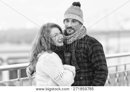 Handsome Couple Likes Walking In City. Aged Guy And Women Likes Winter. Rude Women Cuddles To Guy In