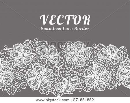 White Seamless Lace Border With Flowers. Black Floral Lace Pattern