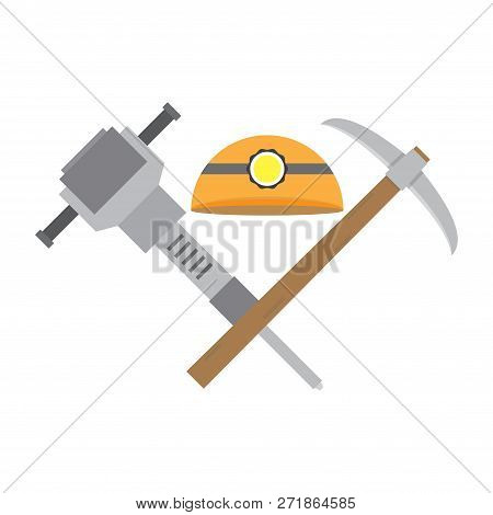 Helmet Jackhammer Pickaxe. The Tools Of A Coal Miner Isolated On A White Background. Cartoon Vector