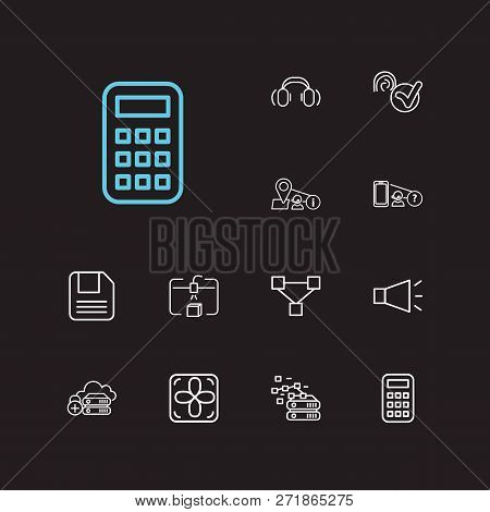 Hardware Icons Set. Steamroller And Hardware Icons With Geolocation Service, Database And Blockchain