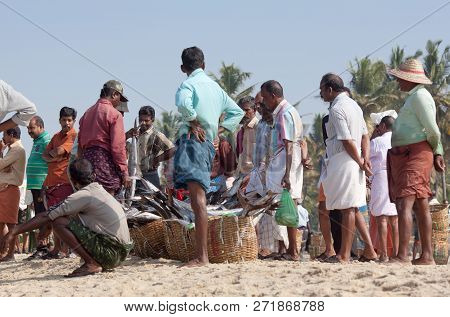 Alleppey, India - November 7, 2016: Indian Fishermen Selling Fish At The Morning Market.
