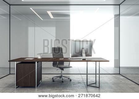 Clean Concrete Office Interior With Glass Walls And Workplace. 3d Rendering