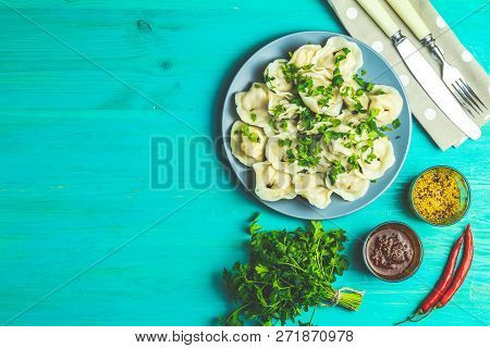 Tasty Homemade Meat Dumplings Or Traditional Italian Ravioli Of Wholemeal Flour Sprinkled With Fresh