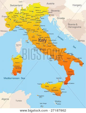 Abstract vector color map of Italy country