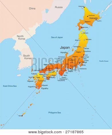 Mapa de color abstracto vector del país de Japón