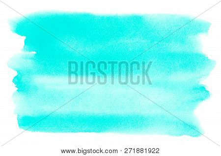 Ocean Sea Or Sky Blue Azure Turquoise Watercolor Abstract Background. Horizontal Watercolour Gradien