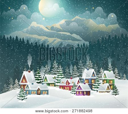 Evening Village Winter Landscape With Snow Covered Houses And Mountains. Christmas Holidays Vector I