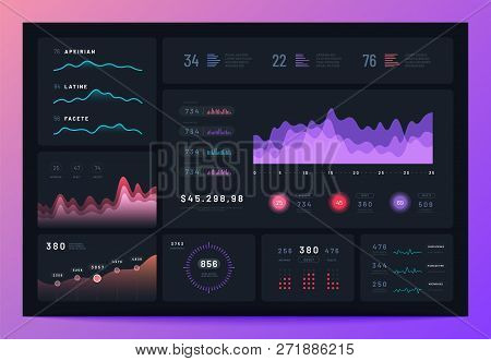 Business Infographic Dashboard. Modern Interface, Admin Platform With Graph, Statistics Chart Market