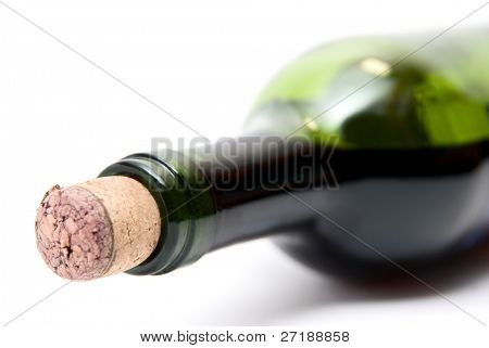 Close-up of bottle of red  wine isolated over white background