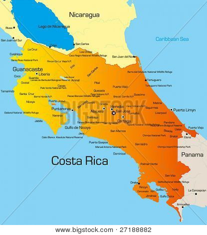 Vector color map of Costa Rica country