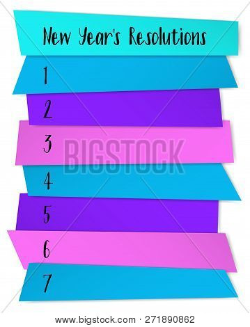 New Year Resolutions Challenge Vector Template. List Of Blank Memo Notices. Health, Career, Family,