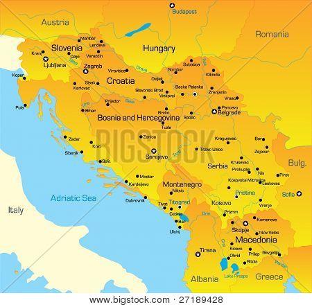 Vector color map of Balkan region