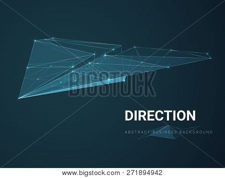 Abstract Modern Business Background Depicting Direction With Stars And Lines In Shape Of A Paper Pla