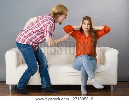 Man And Woman Having Conflict. Guy Ignoring What His Girlfriend Is Saying. Friendship, Couple Breaku