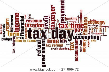 Tax Day Word Cloud Concept. Vector Illustration On White