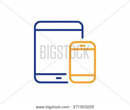 Mobile Devices Icon. Smartphone And Tablet Pc Signs. Touchscreen Gadget Symbols. Colorful Outline Co