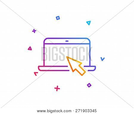 Laptop Computer Icon. Notebook With Mouse Cursor Sign. Portable Personal Computer Symbol. Gradient L