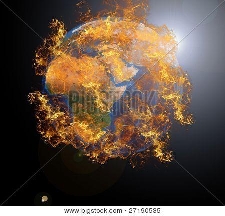 Earth planet at fire. Data source: Nasa
