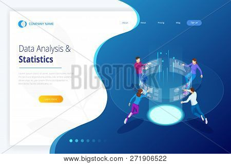Data Analysis And Statistics. Isometric Business Data Analytics Process Management Or Intelligence D