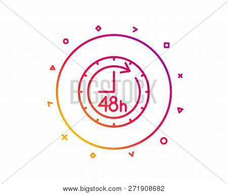 48 Hours Line Icon. Delivery Service Sign. Gradient Pattern Line Button. 48 Hours Icon Design. Geome