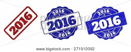 2016 Grunge Stamp Seals In Red And Blue Colors. Vector 2016 Labels With Grunge Texture. Graphic Elem