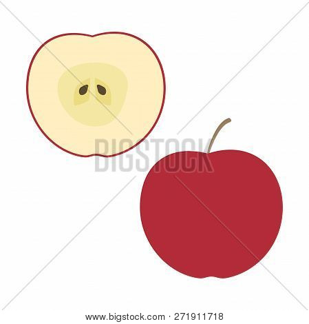 Fresh Red Apple And A Half. Raw Food Vector Illustration.