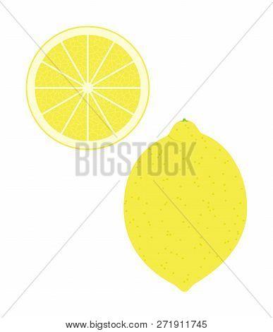 Fresh Lemon And A Slice. Raw Food Vector Illustration.