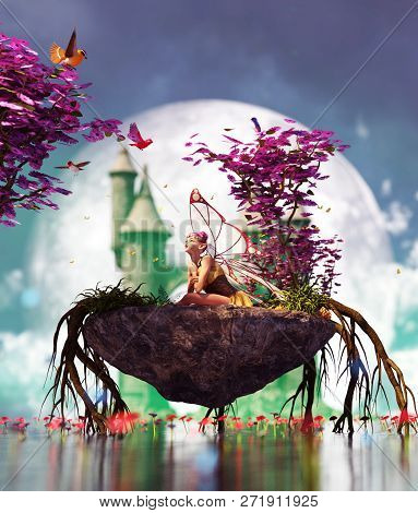 3d Fantasy Little Pixie In Mythical Island,3d Illustration For Book Cover Or Book Illustration