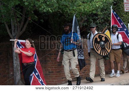 Charlottesville , Virginia , United States - August 12 , 2017 Unite The Right Attracts Neo-nazi Grou