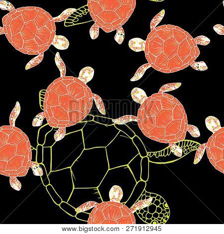 Seamless Vector Pattern Of Sea Turtles And Tropical Fish